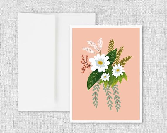 Folk Art Flowers No. 1 - Floral Greeting Card