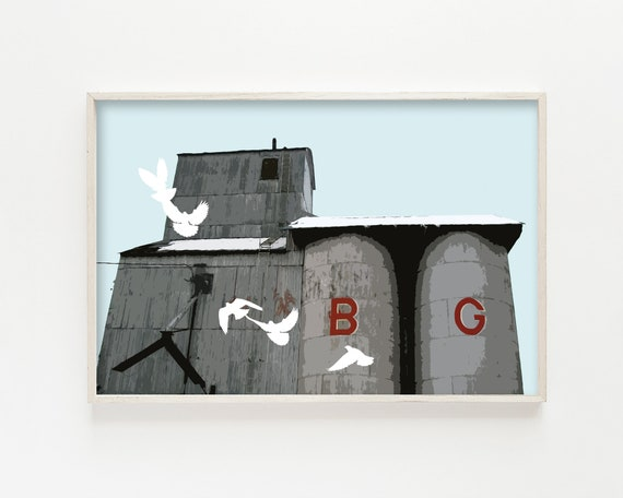 """The B&G with Pigeons"" - wall art print"