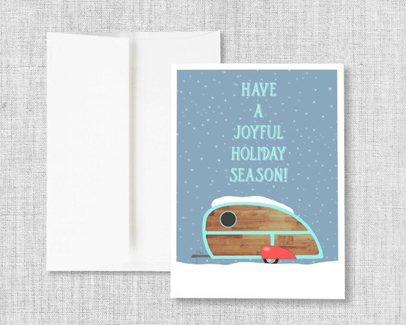 "christmas cards, greeting cards, greeting card set, christmas greeting cards, holiday greeting cards, retro camper, snow  - ""Joyful Season"""