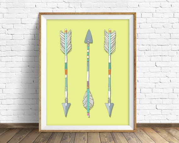 "arrows, native american, tribal, wall art, large art, large wall art, modern colorful, modern art, wall art prints, prints - ""Arrows Trio"""