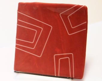 red and white square sushi server plate