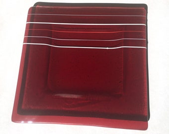 large square red glass cookie platter