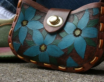 Blue floral leather purse/handbag