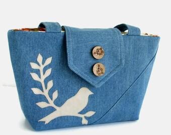 SALE - Bird on Branch Applique - Denim Wayfarer Purse - Handmade Applique - Shoulder Bag - Vegan