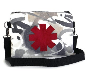Red Hot Chili Peppers Inspired - Handcut Applique - Crossbody Bag - Clutch - Purse
