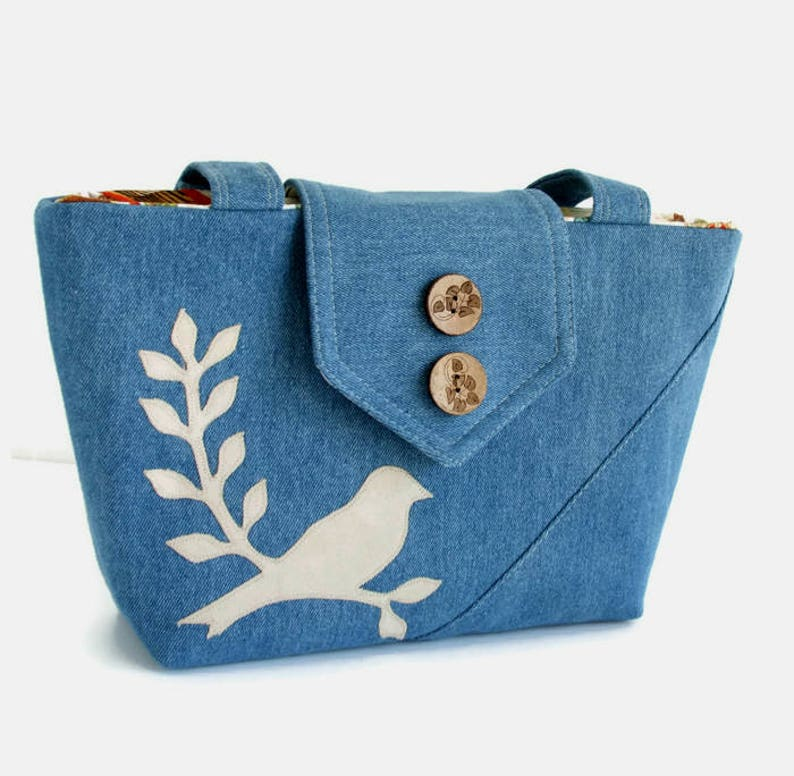 2f495e12b76b SALE Bird Bag Bird Purse Bird on Branch Applique Denim