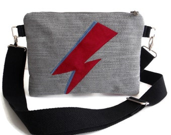 Ziggy Stardust - David Bowie - Handmade Applique - Aladdin Sane -Vegan - Adjustable Strap - Crossbody Purse - Bag