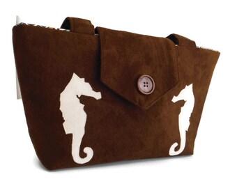 SEAHORSES - Handmade Appliques -  Nautical - Seahorse Bag - Faux Suede Handbag - VEGAN