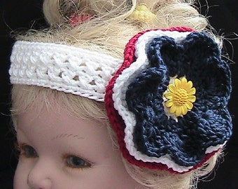 AMERICAN PRIDE - White Crocheted Headband with Crocheted Flower - red-white-blue