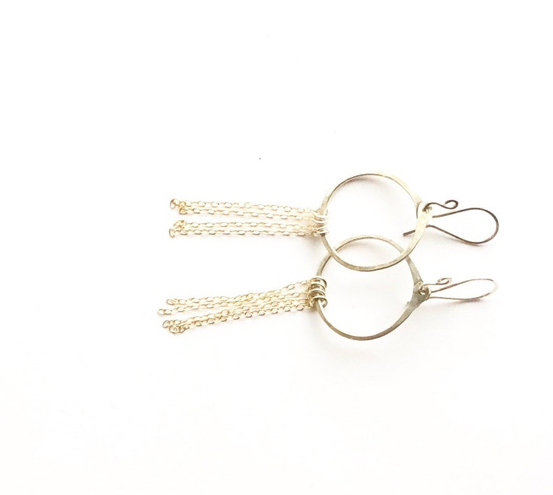 Mini silver hoops with gold chain