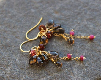 Long Smokey Quartz and Ruby Earrings , Red Gold Earrings , Bohemian, Dainty, Bridal earrings, Gift for her