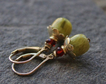 Green Aquamarine flower Earrings, Silver Gemstone Earrings, Holiday gift,  wire wrapped dangle earrings, Minimalist , Petite every day