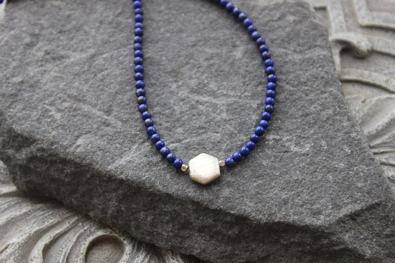 Blue Necklace Blue Gemstone Necklace Lapis choker Necklace Gift for her