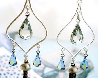 teardrops & tassels chandelier earrings. arabesque vintage crystal earrings by elfmadchen.