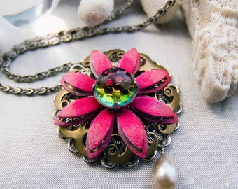 SALE hot pink flower pendant necklace with swarovski rainbow orb crystal center.