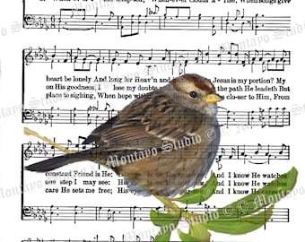 HIS EYE is On The Sparrow bird Spiritual Hymn Song Page  4x6, 5x7, or 8x10  print Image Digital - Digital Download -JPG