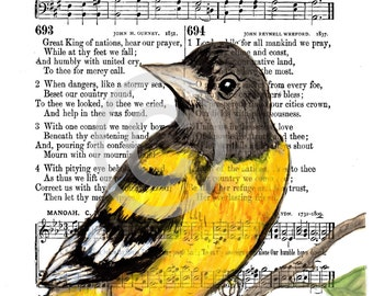 BALTIMORE ORIOLE Spiritual Song Page Print© Our Country 4x6, 5x7, or 8x10 INSTANT Digital Download A wonderful Patriotic Veteran gift
