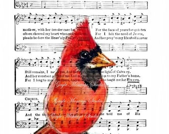 MY MOTHER ©Red Cardinal Bird lovely Art Print Religious Hymn 4x6, 5x7, or 8x10   Image Digital - INSTANT Digital Download Mothers Day