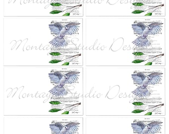 DOVE INSTANT Digital Download  Collection of original art prints for  gift Tags