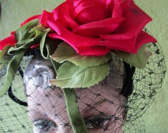 Fuschia Silk Roses Veil 1950s Spring Garden Wire Cage Hat Floral Green Velvet Church Derby
