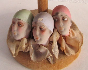 3 Doll Head Wooden Hat Stand Vintage Pierrot Ruffled Ribbon Millinery Decor