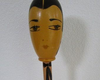 Tall Egg Head Flapper Wooden Hat Stand Painted Black Hair Teal Lathe Turned Millinery Decor