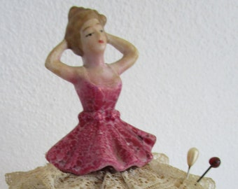 Half Doll Pincushion Ceramic Hatpin Holder Tiered Lace Skirt Vintage Hand Painted
