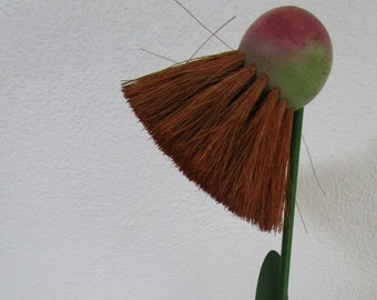 Charming Lint Brush Wooden Hat Stand Painted Flower Lathe Turned Millinery Decor