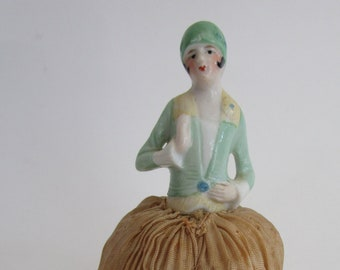 Porcelain Flapper Half Doll Pincushion Hatpins Gams Legs Collectors Vintage Hand Painted