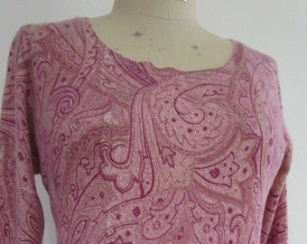 XL Neiman Marcus CASHMERE Pullover Knit Sweater Mauve Pink Purple Paisley Cuddly