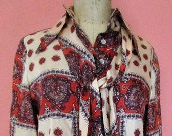 S- Anne Klein Lion 1970s Dog Ear Butterfly Collar Tunic Sash Belt Silk Earth Tones