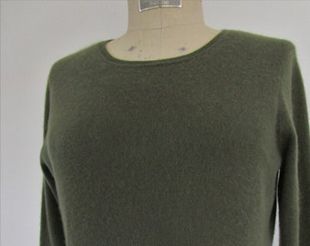 L Macys CASHMERE Pullover Knit Sweater Charter Club Scoop Cuddly Loden Green Moss