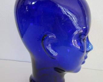 Glass Mannequin Head Cobalt Blue Hatpins 8in Faceted Glass Teardrop Steel Vintage Edwardian Victorian