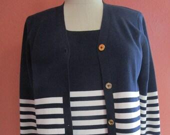bae1c8c30e Petite P-S Ralph Lauren Silk Twin Sweater Set Nautical Navy Stripes Ivory  Gold Buttons