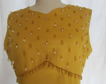 """b43"""" Party Gold Satin Vintage 1970s MCM Cocktail Dress Crystal Beading Sleeveless Sweetheart Flair"""