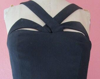 Bust 32 Alluring Cut Out Bondage Matte Black Formal Evening Gown