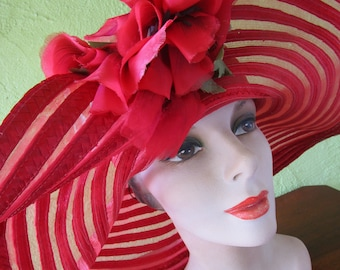 Sheer Red Curvy Scallop Brim Braid Sun Shade Hat Satin Red Silk Flower