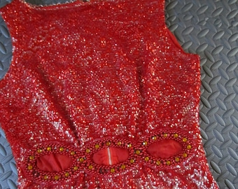"b37"" Red Beaded 1960s Sequin Wool Shell Sweater Metal Zipper Peeka Boo Abs"