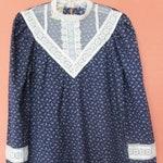 Authentic Gunne Sax Prairie Dress Vintage 1970s Ditsy Navy Cotton Lace Puff Ruffles