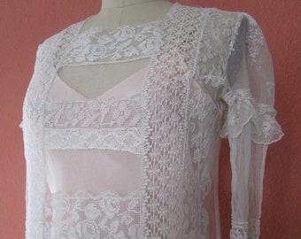 M- Lace Mesh Upcycled Long Sleeve Dress Slip Vintage Ivory Bridal Tea Length