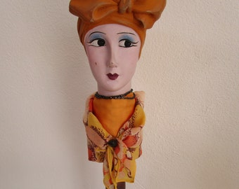 Tall Turban Boudoir Doll Head Wooden Hat Stand Ceramic Bisque Silk Millinery Decor