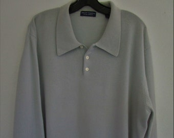 2XL XXL CASHMERE Mens Blue Gray Polo Collar Pullover Sweater Cuddly Long Sleeve Pearl Buttons