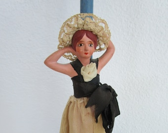 Ceramic Doll Wooden Hat Stand Figural Porcelain Vintage Lace Gown Millinery Decor