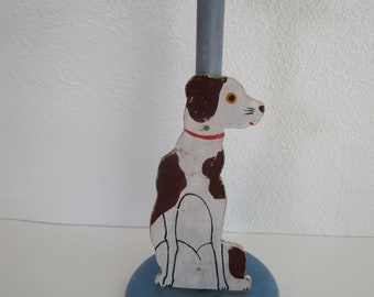 Spotted Dog Wooden Hat Stand Painted Figural Cutout Blue Millinery Decor