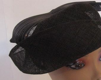 Celine Robert Chapeaux Straw Percher Twisted Hat Fascinator Black French Millinery
