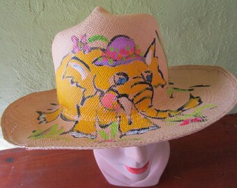 68b0d4ea259ad Childs Hand Painted Elephant Natural SIsal Straw Fedora Hat Sun Shade  Ecuador Saks Fifth Ave Small
