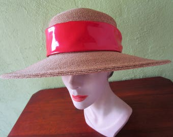 4cb00897a4a Frank Olive Natural Straw Hat Red Patent Leather Band Private Collection  Sun Derby Church Easter