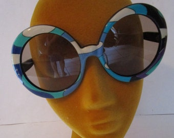 46e59427a2b8 Vintage Groovy Emilio Pucci France Oversized Round Psychedelic Rare Blue  Green Sunglasses 1960s 1970s