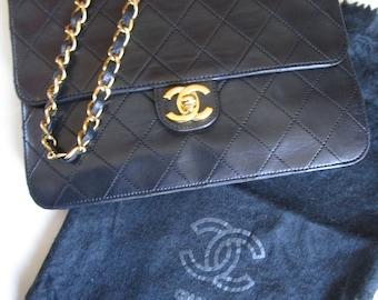 47cf696306a8 Authentic CHANEL Small Black Quilted Flap Purse Gold Chain Shoulder Bag  Logo CC France Vintage 1970s Paris