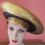 Shiny Gold Lurex Black Frank Olive Platter Straw Hat Derby Church Easter